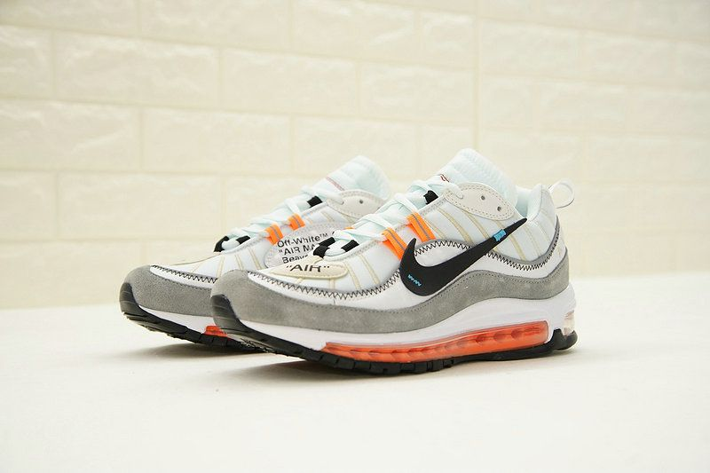the latest f01fa ab4d4 Virgil Abloh x Nike Air Max 98 The Ten Off White Grey Black Orange  640744-086