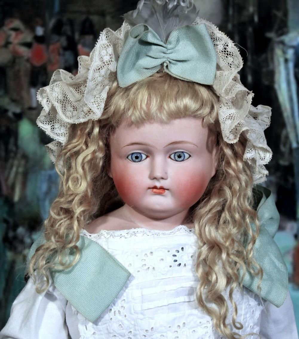 Early Turned Head Abg Child Doll Exquisite 24 Inches Child Doll Flower Girl Dresses Antique Dolls