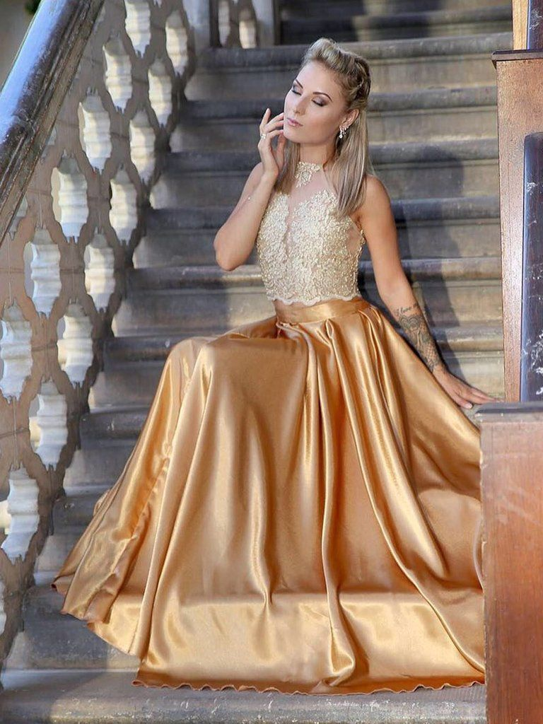 Two piece prom dresses halter gold aline appliques long prom dress