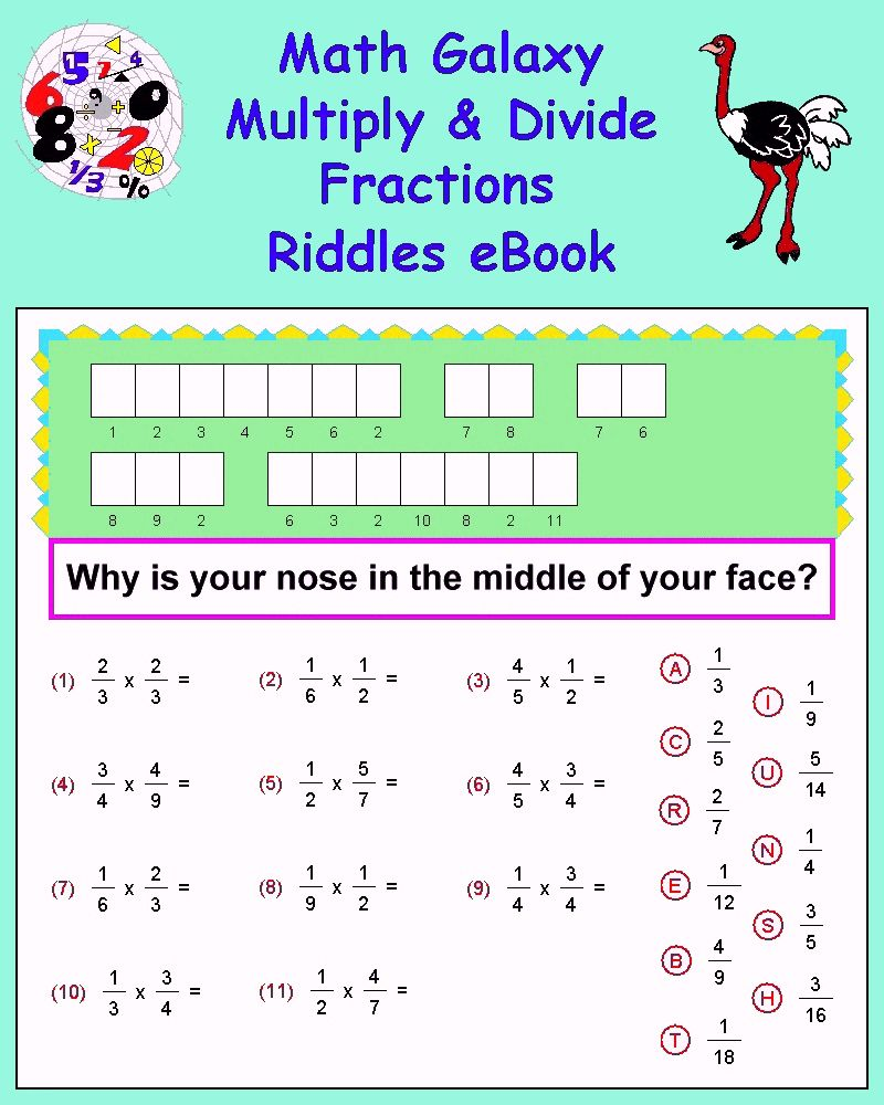 small resolution of Math Galaxy Multiply \u0026 Divide Fractions Riddles eBook   Fraction riddles