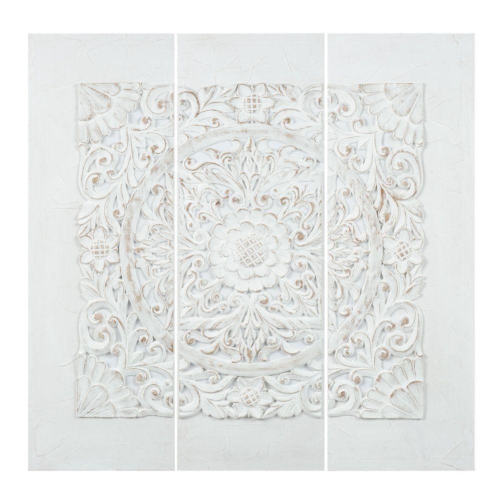 triptychon aus kunstharz wei 90x90 maisons du monde