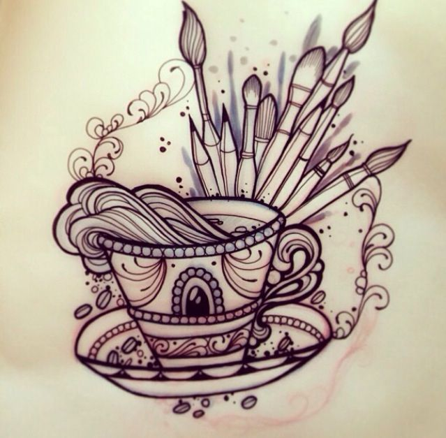 neo traditional tattoo flash teacup paint brushes tattoos pinterest traditional tattoo. Black Bedroom Furniture Sets. Home Design Ideas
