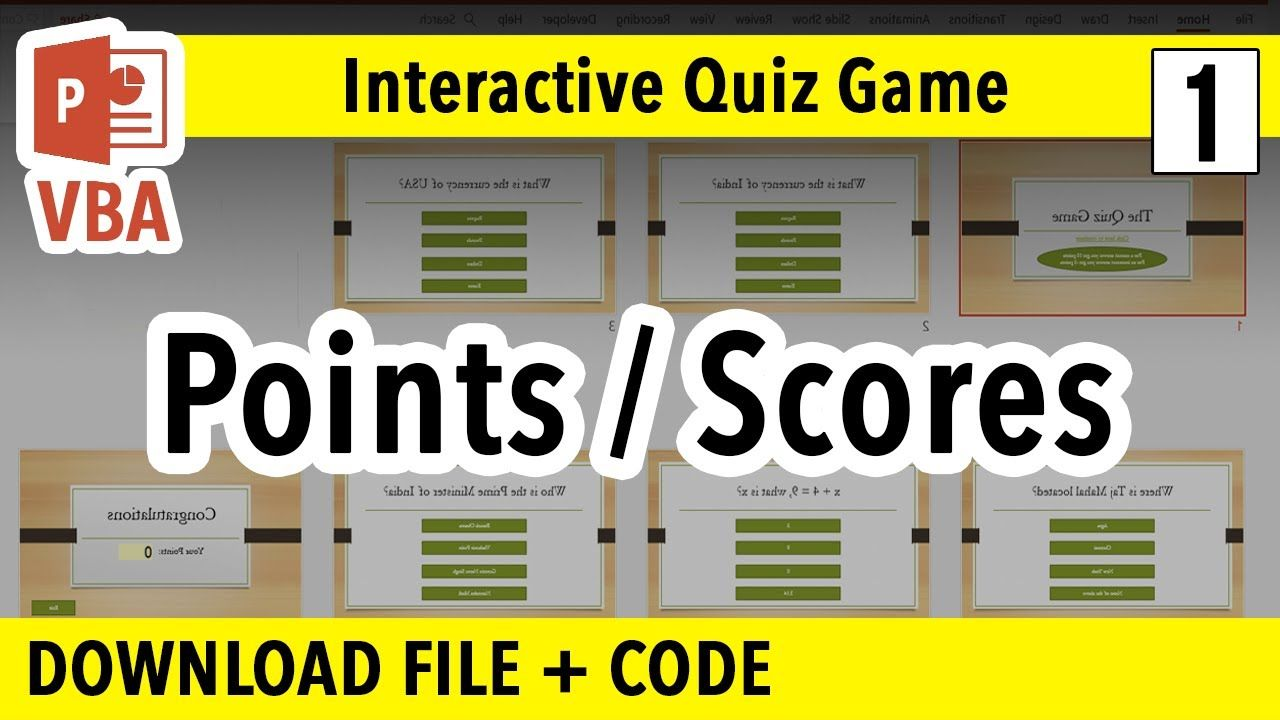 How To Make Powerpoint Interactive Quiz Game Points Percentages Ppt Vba Macro Tutorial Youtube Interactive Powerpoint Powerpoint Tutorial Powerpoint