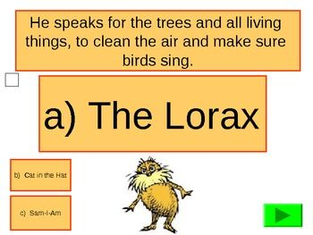 Fun And Interactive Dr Seuss Character Quiz Activity Game Lorax