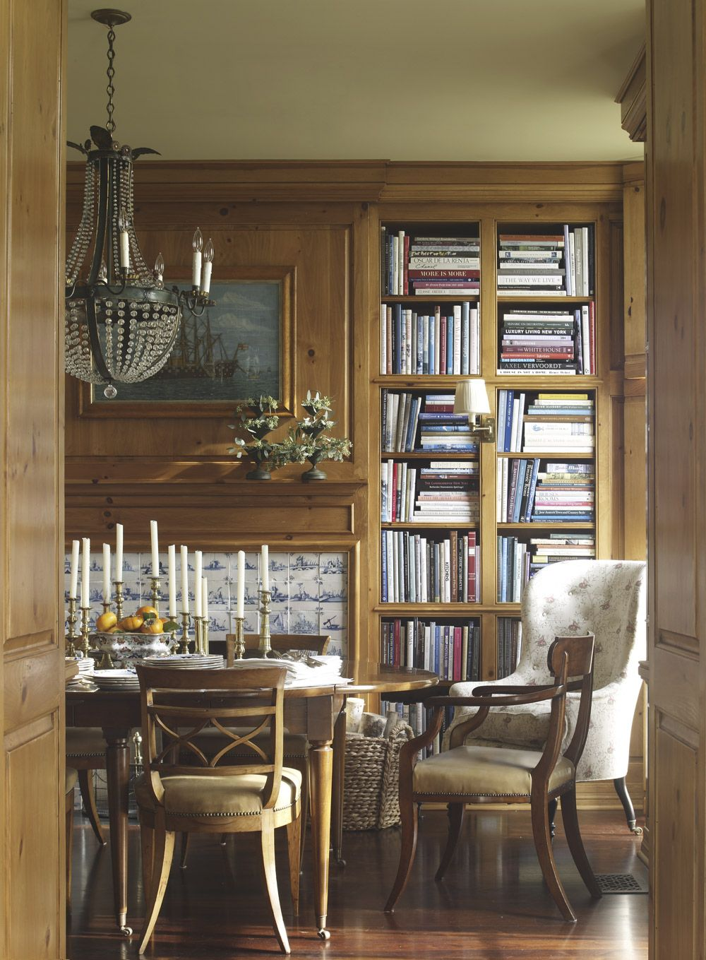 Anne library dinning room we could faux bois the paneling aoj