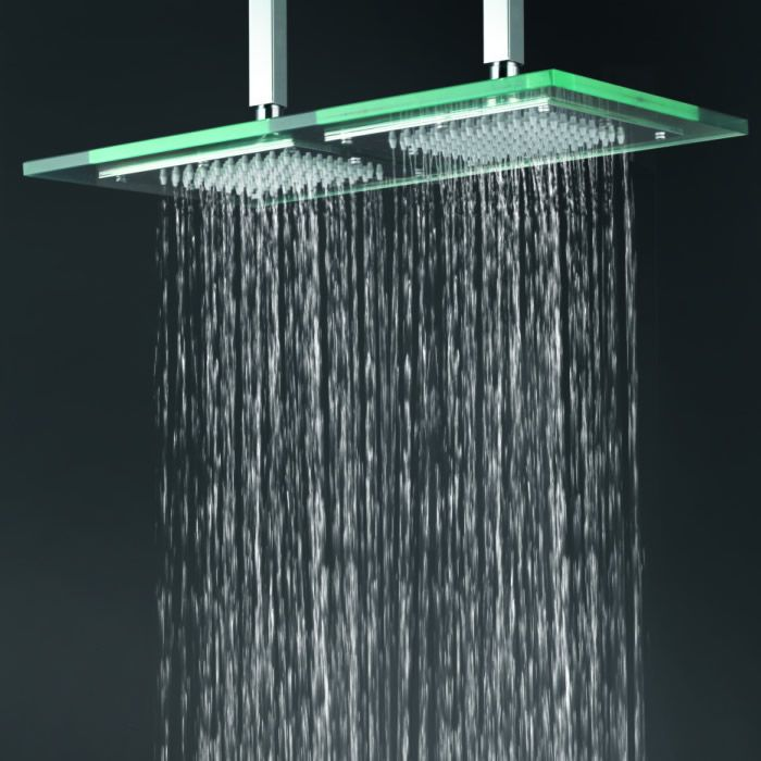 Delightful Contemporary 9 Inch * 18 Inch Glass Square LED Rainfall Shower Head T321