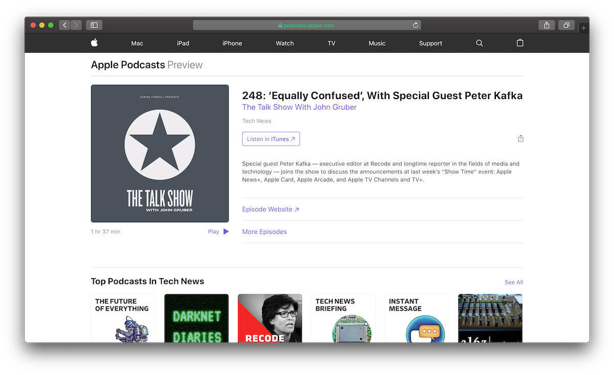 Apple Podcasts now play in browser, movies and TV show