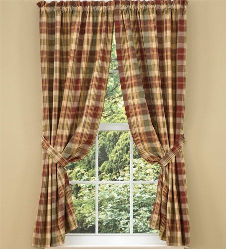 Amazon Com Saffron Collection Lined Window Curtain Panel 84 Country Red Sage Green Brown Tan Plaid Ru Country Style Curtains Panel Curtains Country Curtains