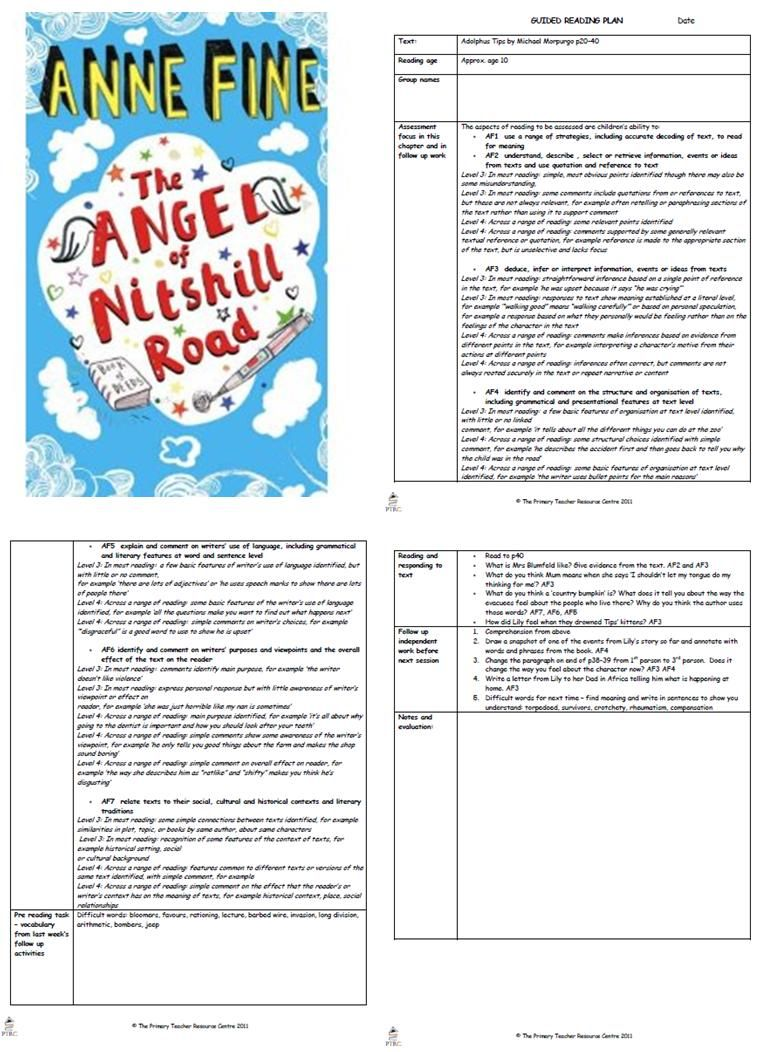 Workbooks the twits worksheets ks2 : The Angel of Nitshill Road Guided Reading Plans | Guided Reading ...