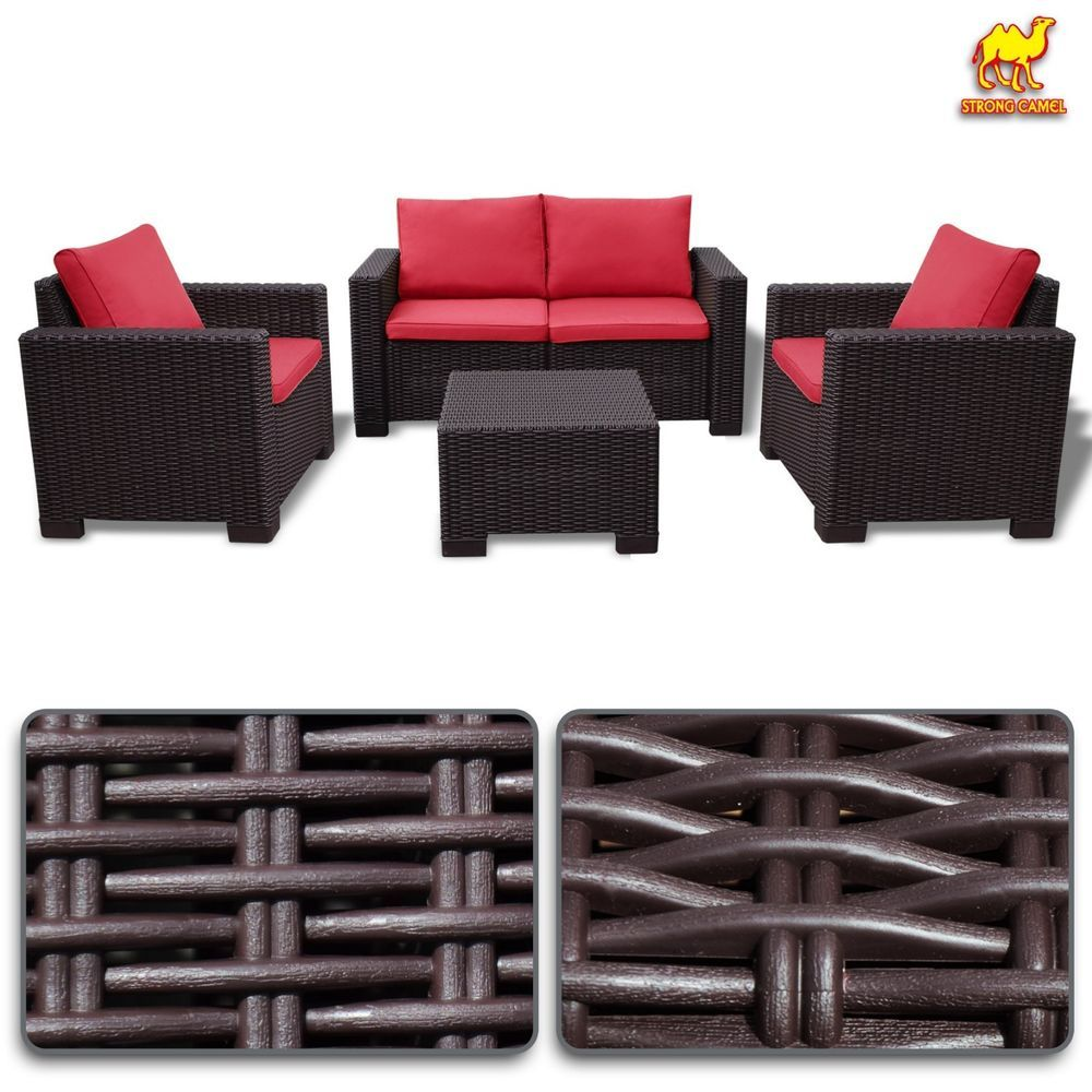 4 pc pp rattan outdoor garden patio furniture set wicker sofa cushioned loveseat 666 59 end date monday aug 27 2018 15036 pdt buy it