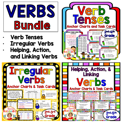 This Easy To Use Verbs Anchor Chart And Task Cards BUNDLE Includes Verbs  Products That Range In Common Core Al… Verb Task Cards, Linking Verbs,  Verbs Anchor Chart