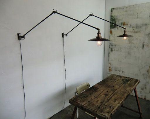 Wo & we lampe murale potence pivotante industrielle articulée