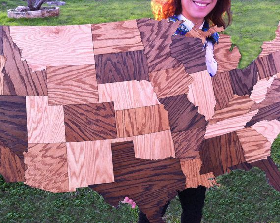 HUGE Wood USA Map Wall Decoration Sculpture By MastersOfFate - Usa map jigsaw puzzle