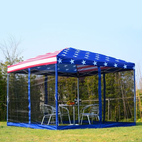 10 Ft W X 10 Ft D Metal Pop Up Canopy Outdoor Awnings Canopy