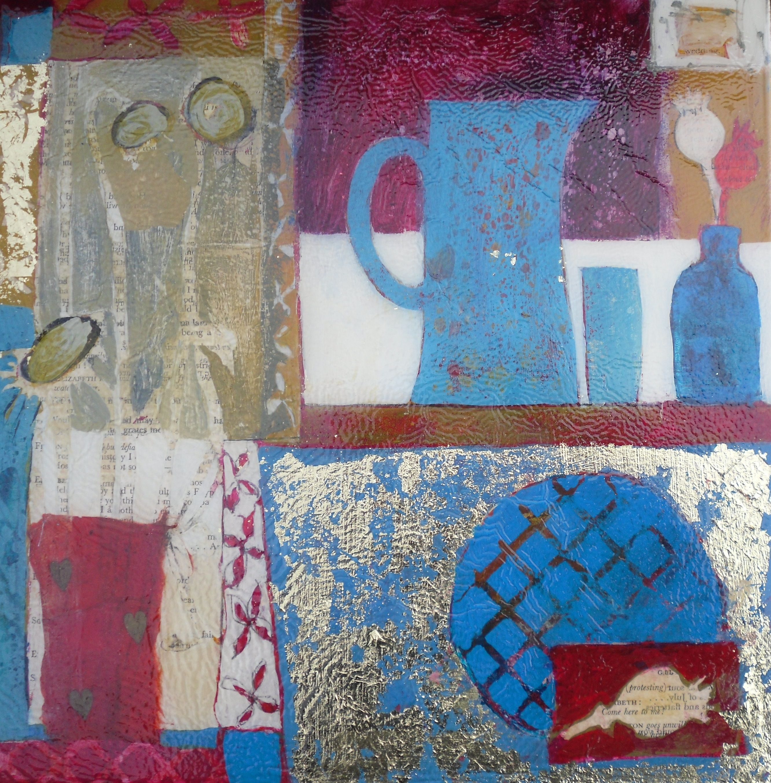 The blue jug a small mixed media piece on cradle wood still life