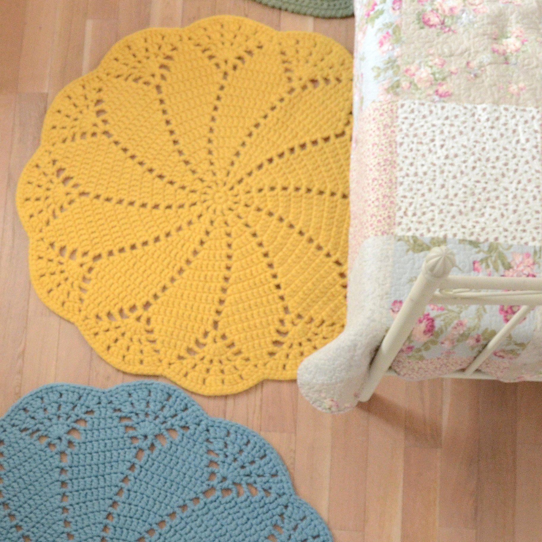 Yellow Round Crochet Doily Rug Wool Felt Oversized Boho Doily Rug Retro Style Giant Doily Rug Boy Nursery Rug Crochet Doily Rug Doily Rug Wool Felt