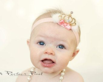 crown baby headband crown headband  gold crown by PoshPeanutKids