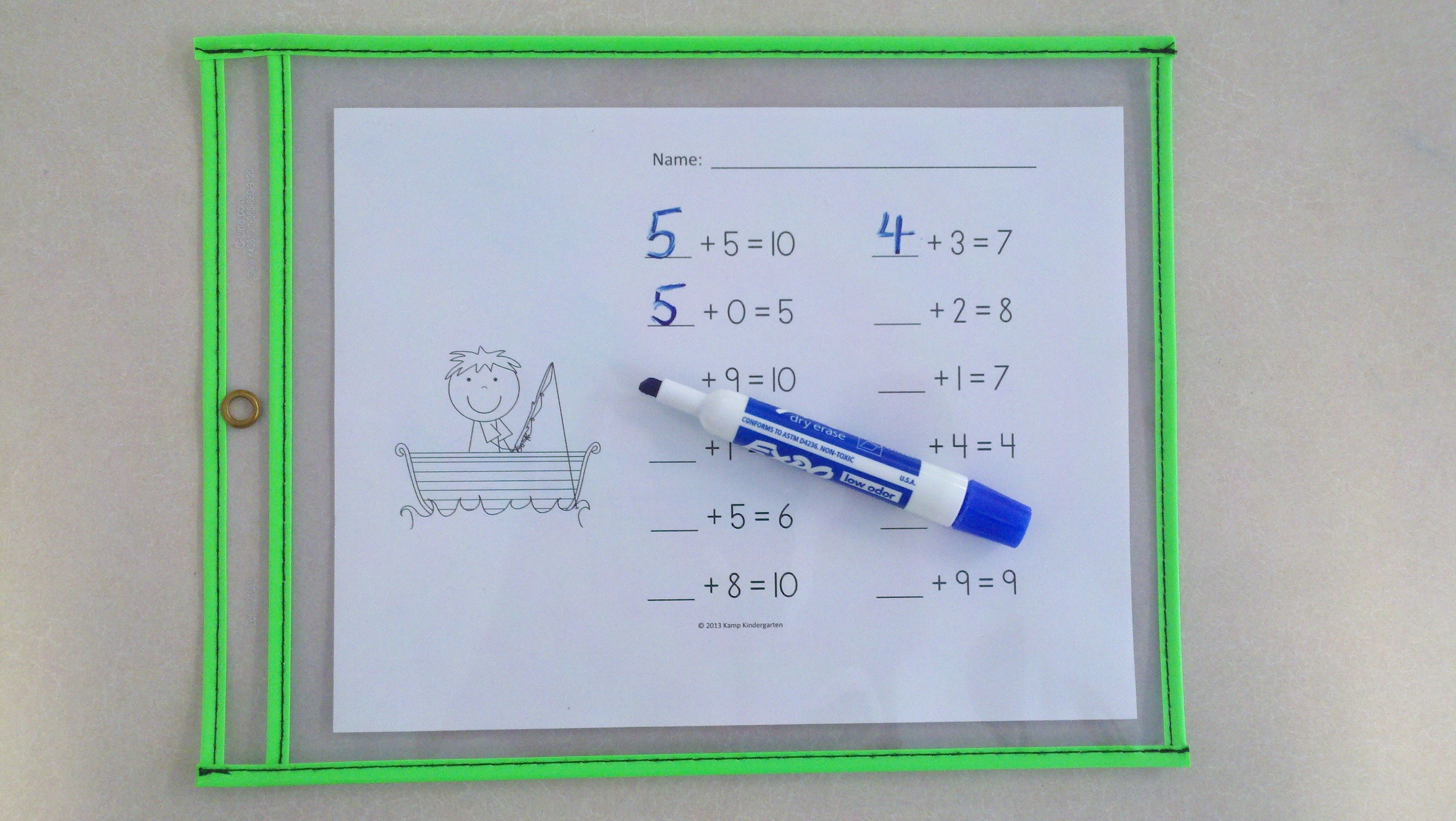 Summer Camp Addition Practice Packet Sums Of 0 10