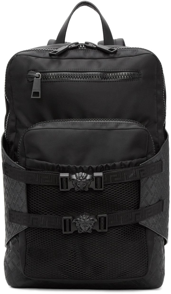 402e41e0ebde Versace - Black Nylon Zip Backpack