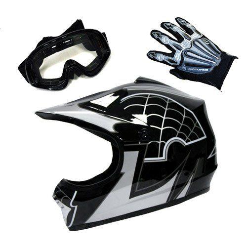 Motocross Mx Bmx Bike Youth Spider Black Helmet Size Medium Goggle Skeleton Glove Size Small Car Accessories Online Market Motocross Helmets Motocross Black Helmet