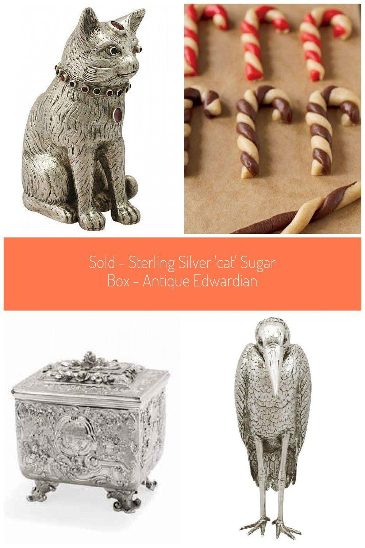 Silver 'Cat' Sugar Box - Antique Edwardian box SOLD - Sterling Silver 'Cat' Sugar Box - Antique Edw