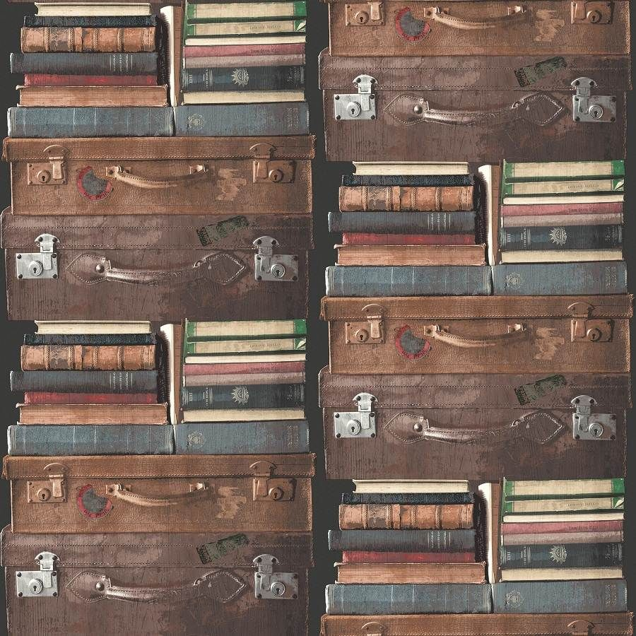 Suitcase Books Exposed Luggage Wallpaper Bright