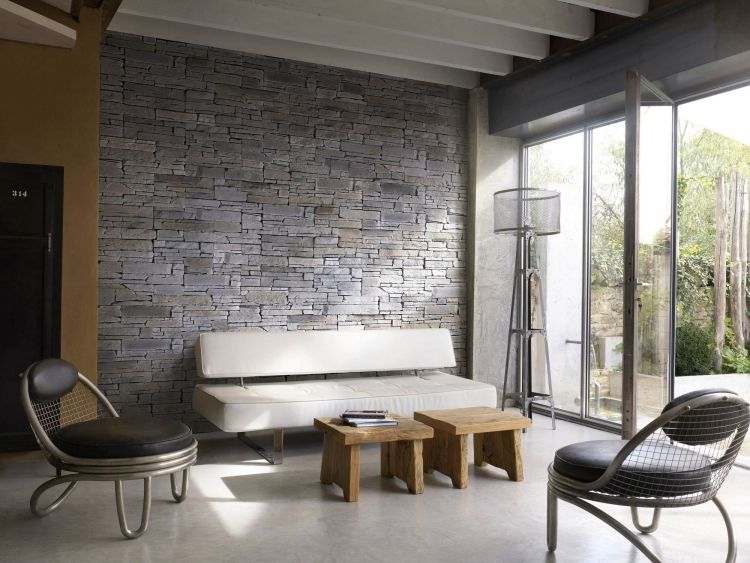 Steinwand Wohnzimmer Wanddeko Rustikal Modern ROCKY MOUNTAIN Orsol