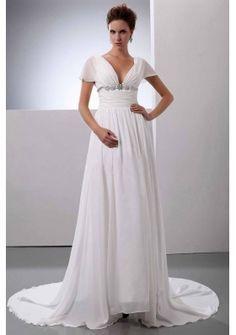 Beading V Neck Court Train Chiffon Wedding Dress Empire