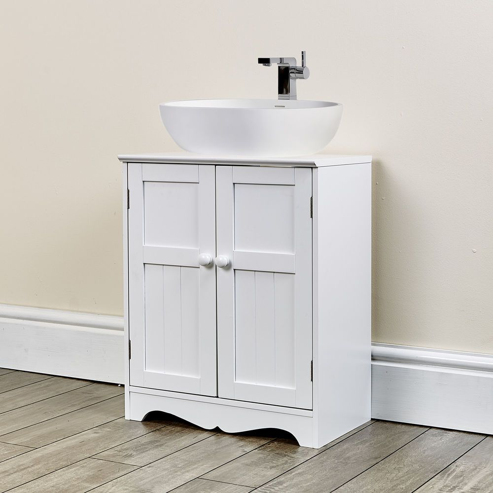 New White Under Sink Cupboard Bathroom Furniture Storage Cabinet
