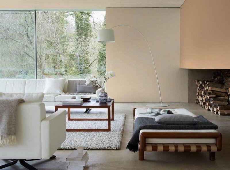AuBergewohnlich Wohnzimmer Wandgestaltung   Pfirsich Nuance Und Sandfarbe Für Mehr  Wohnlichkeit