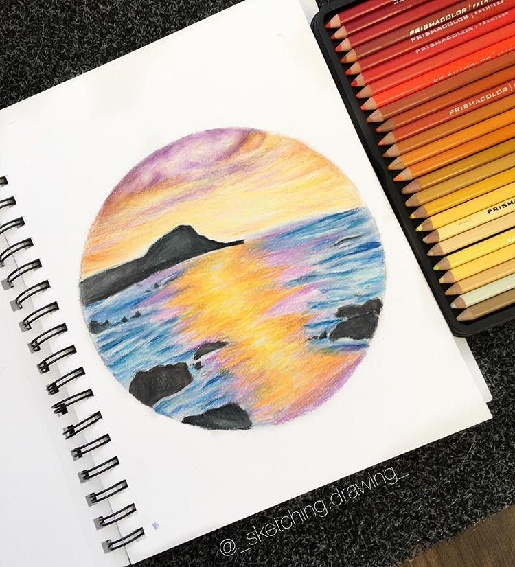 Hey Here S A Sunset Drawing Inspired By A Drawing On Pinterest