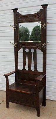 Mission Arts Amp Crafts Quartersawn Oak Hall Seat Bench Bevel Mirror 4 Hooks Old