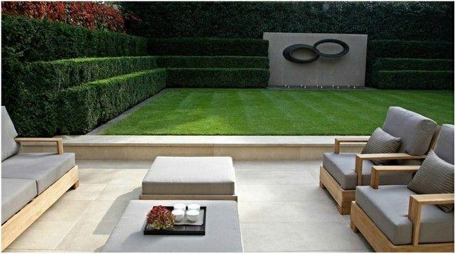 Rasen Immergrune Heckenpflanzen Terrasse Modern Gemutlich Gartendesign Ideen Moderne Gartenentwurfe Moderner Garten