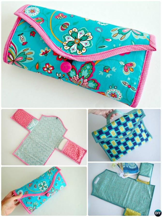 Diy Baby Travel Changing Mat Portable Diaper Clutch Sew Pattern Picture Instructions 2 Patterns