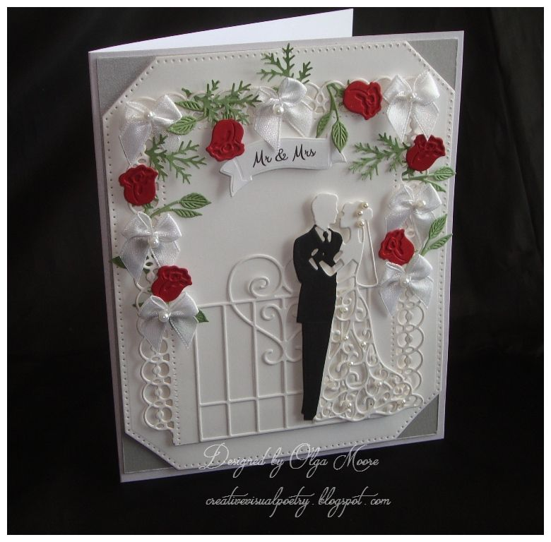 Roses Silver Foil Flowers Wedding Day Card Handmade Wedding Card MR and MRS Greeting Cards Mrs and Mrs Cards Silver Wedding Card