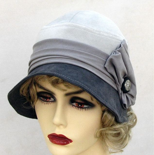 Grey Suede 20 s Style Cloche Hat Roaring 20s Fashion 45905ff5c0d