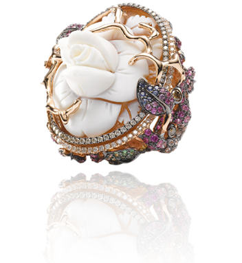 WENDY YUE  Vintage Floral 18 Karat Rose Gold Ring w/ Diamond, Brown Diamond, Pink Sapphire, White Sapphire, Blue Sapphire, Tsavorite, Mother of Pearl