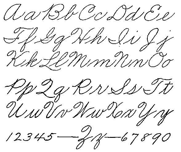 Old Style Handwriting Alphabet