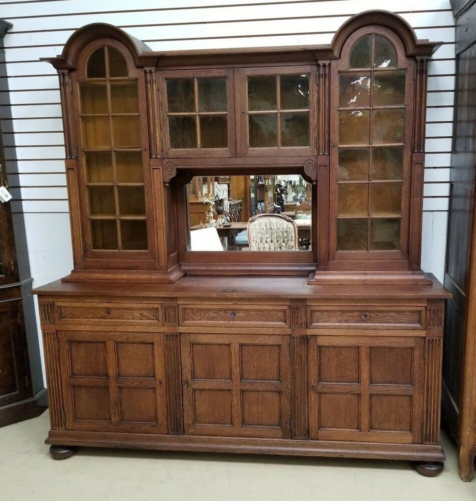 """Antique French Oak Cabinet Bookcase Display H 86"""" x W 79 ..."""