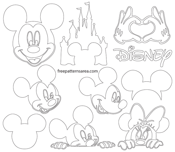 Mickey Mouse Silhouette Vector Images Free Patterns