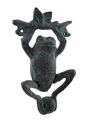 Daring-Dangling-Frog-Verdigris-Finish-Cast-Iron-Door-Knocker-New-Free-Shipping