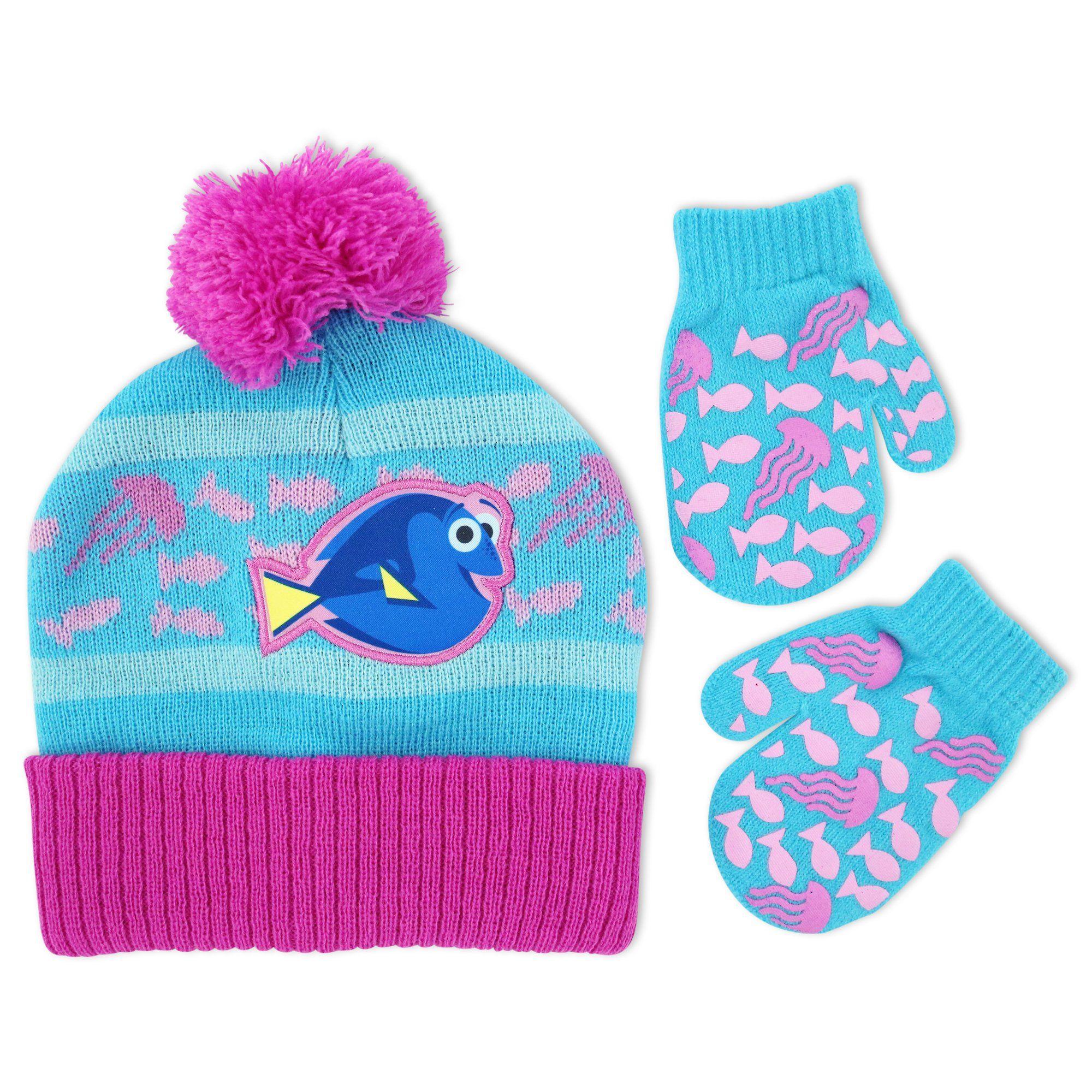 e7c1d703048 Disney Little Girls Finding Dory Hosiery Acrylic Knit Winter Cuffed Beanie  Pom Hat and Matching Mitten Set