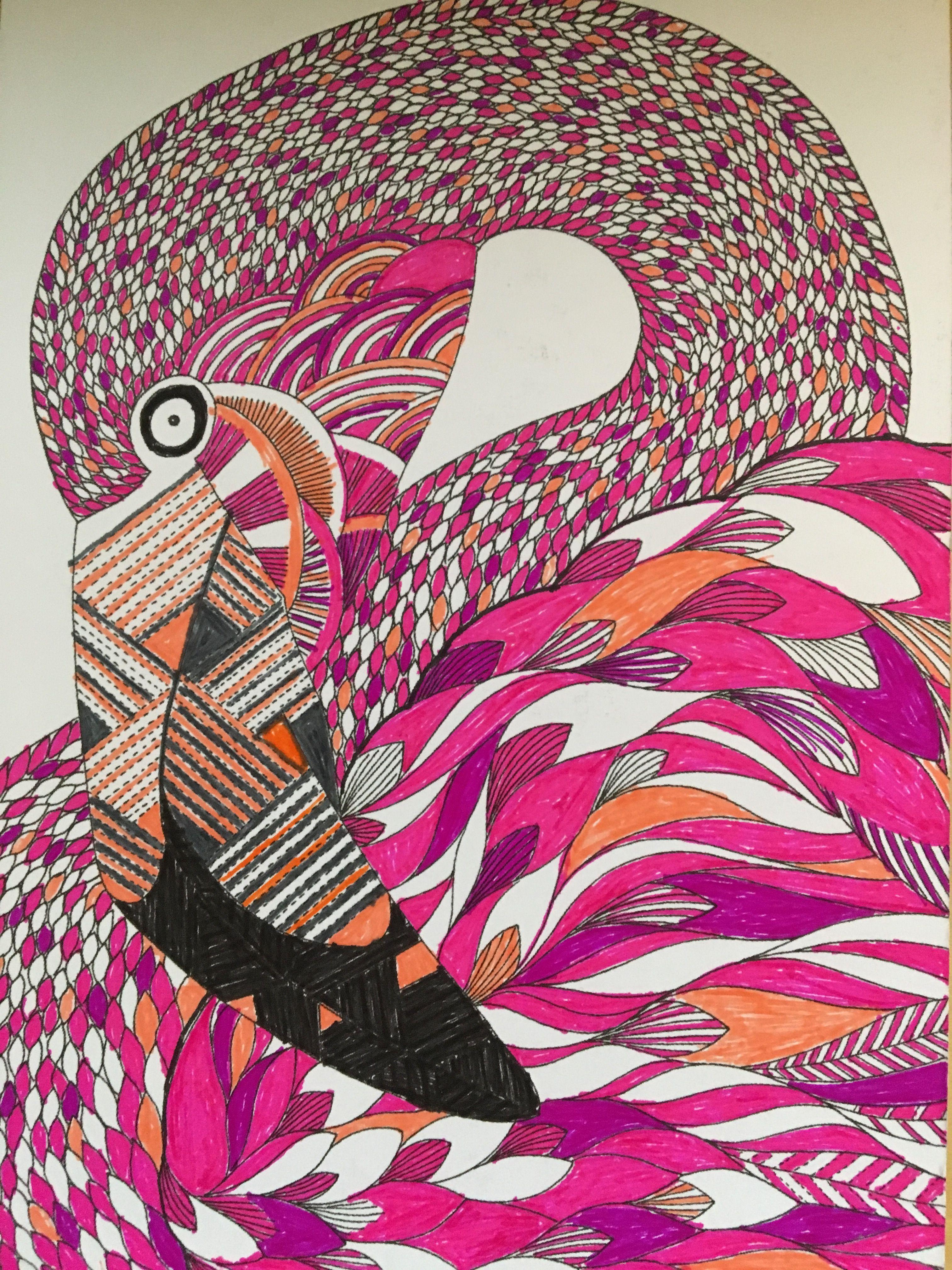Millie Marotta Flamingo Postcard Millie Marotta Millie Marotta Animal Kingdom Marotta