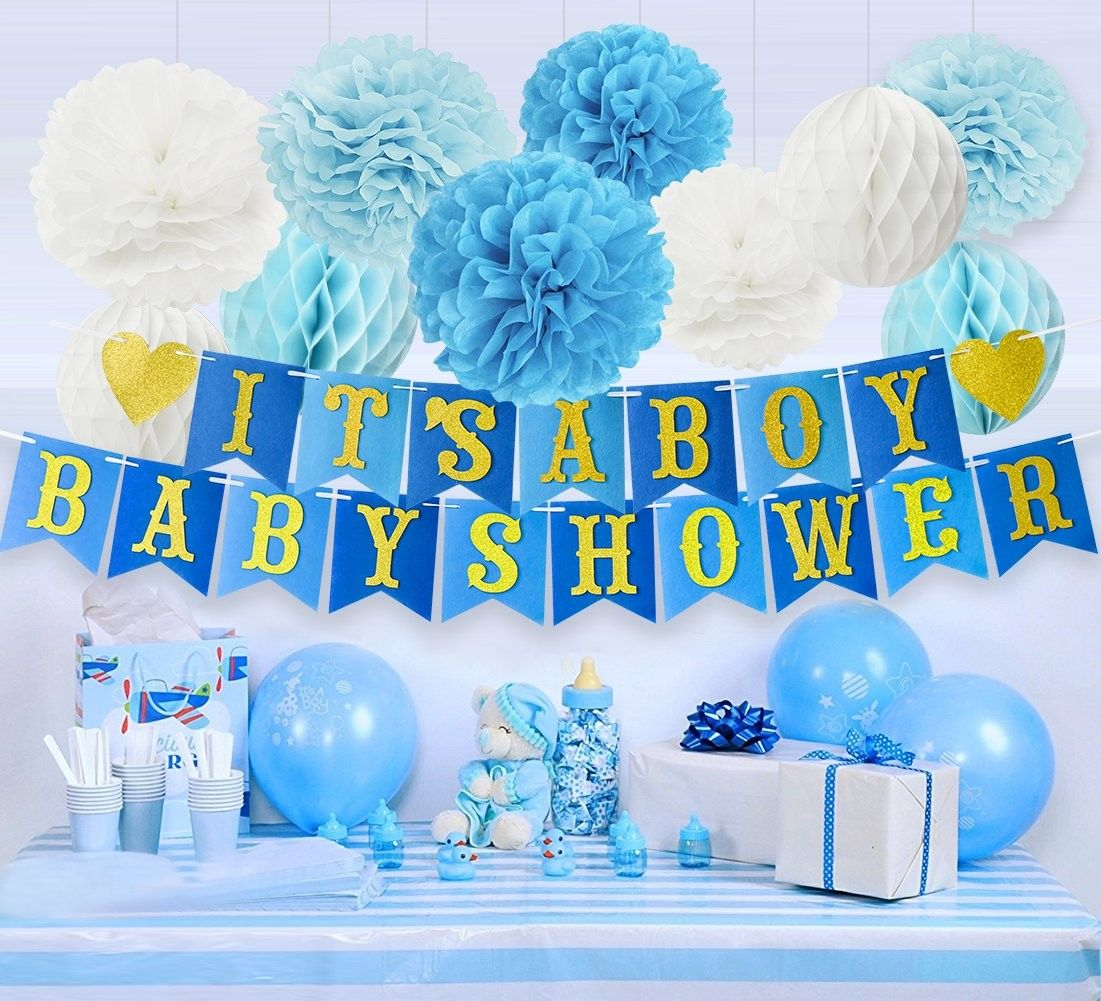 Baby Shower Decorations For Boy Kit It S A Boy Baby Shower Banner Tissue Paper Pom Poms Tissue Honeycomb Balls Turquoise Baby Blue Glitter Gold Whit