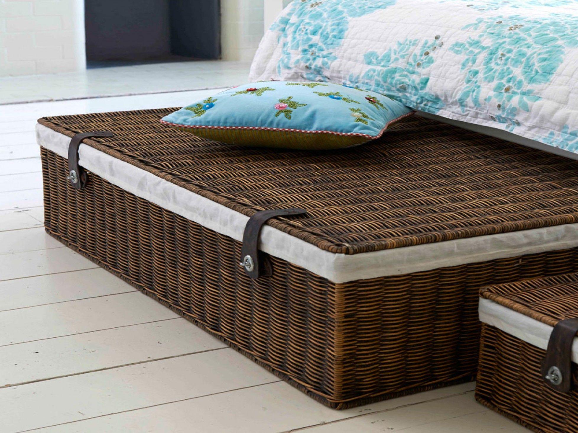Marlow Underbed Storage Lined Rattan Basket Under bed