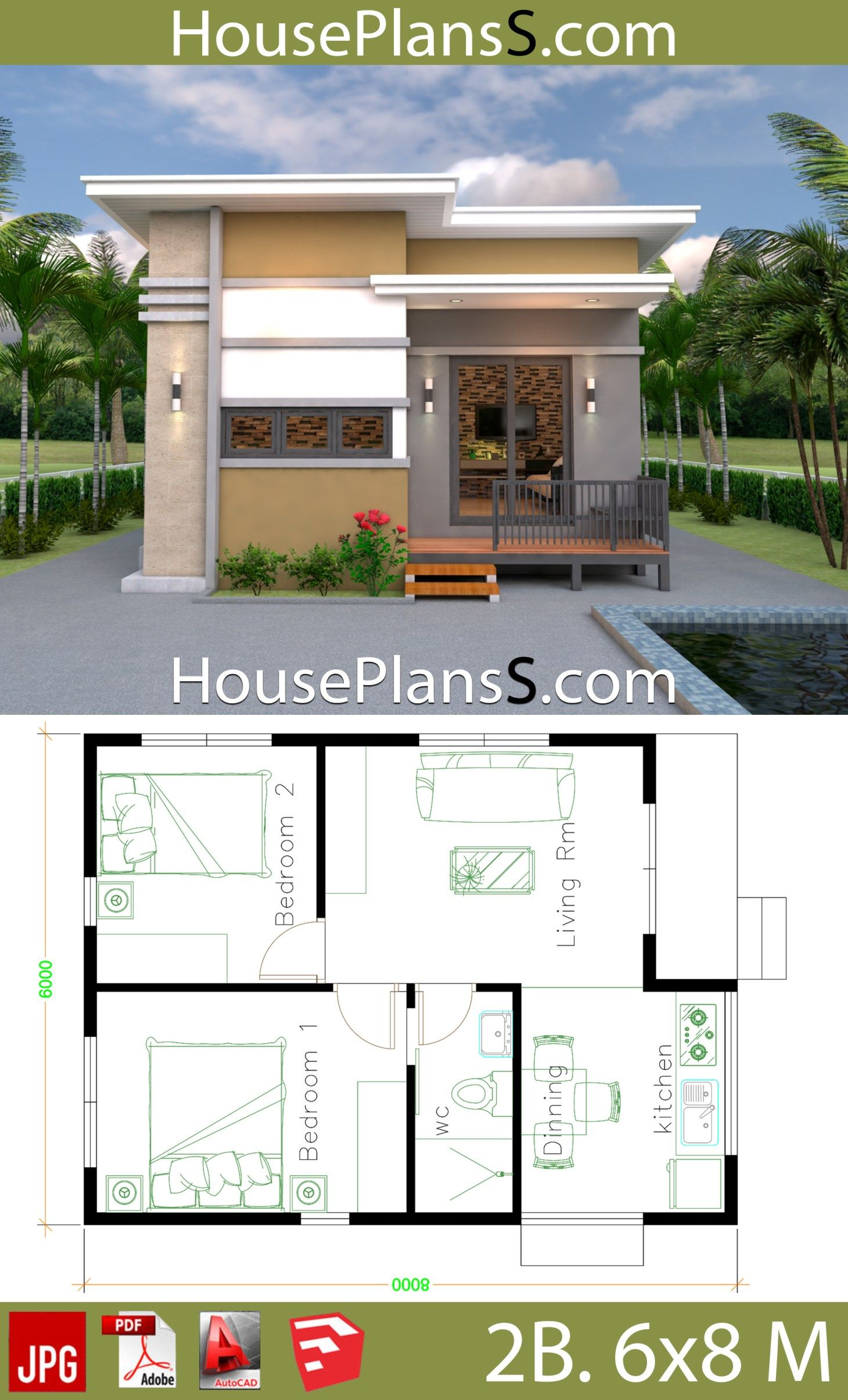 Small House Design Plans 6x8 With 2 Bedrooms House Plans 3d Small House Design Plans House Design Photos House Design Pictures