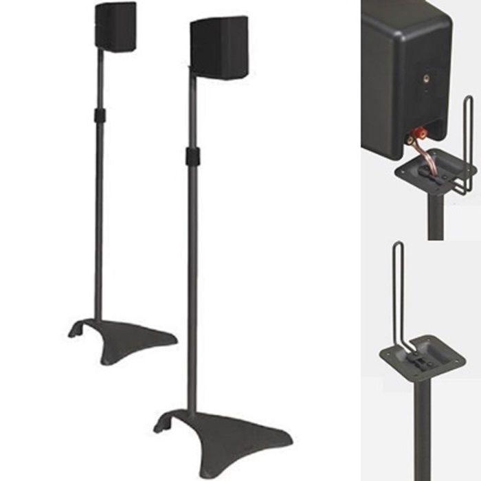 Pair Speaker Stands Black Surround Sound 8 Stand Satellite Home