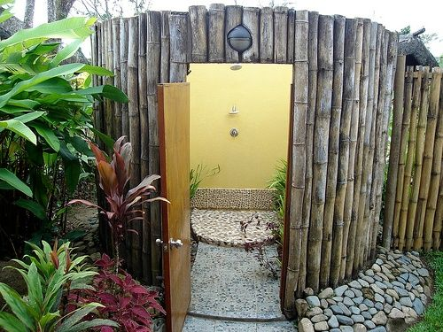 inspiring outdoor shower idea with bamboo round panel design