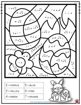 Easter Music Coloring Sheets: 26 Music Notes and Rests