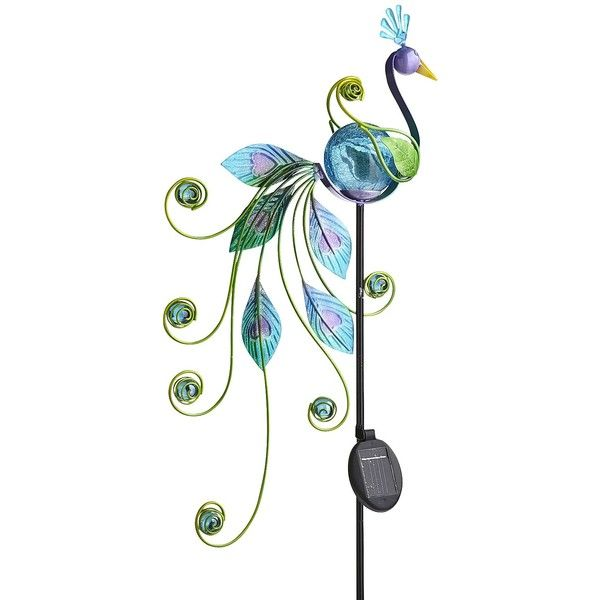 Pier 1 Imports Multi-colored LED Solar Peacock Garden Stake ($19) ❤ liked on Polyvore featuring home, outdoors, outdoor decor, multicolor, outdoor patio decor, outdoor garden decor, solar garden stake and pier 1 imports